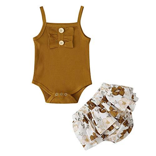 Baby Mädchen Kleidung Set Sling Strampler Hosenrock Neugeborene Ärmellos Romper Tutu Rock Blumenkleidung Outfits, Brown, 12-18 Monate