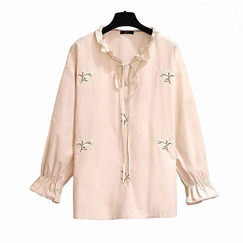 DISCOUNTL - Corbata bordada de manga larga para mujer, talla grande, 6XL, disfraz de Navidad, para adulto, pesadilla antes de Navidad (producto solo contiene camisa) Rosa albaricoque XXXL