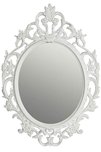 Barock Wandspiegel weiß - 84x58 cm - Hängespiegel mit Verzierungen - Deko Bad Spiegel Flurspiegel Antik