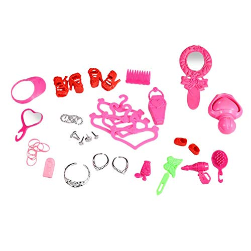 41 Pcs Doll Accessory Kit, TopSeller Jewelry Necklaces Earrings Crowns Mirrors Combs Hat Shoes Cloth Hangers Dress Up Accessory for Barbie Dolls - Little Girls Birthday Playset