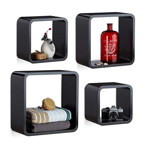 Relaxdays Cube Wandrek, 4-delige set, vierkant MDF wandboard, belastbaar decoratief rek voor woonkamer, zwart