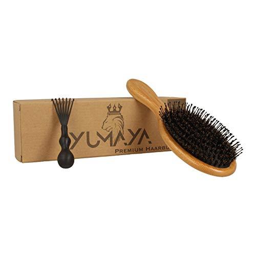 YUMAYA Premium Haarbürste Wildschweinborsten Bambus inkl. Bürstenreiniger   Antistatische Bürste   Stylingbürste zur Haarentwirrung   Ohne Ziepen   Detangler-Bürste   Für Damen&Herren