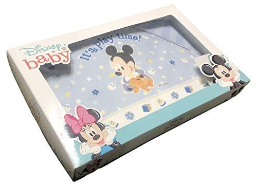 Juego de 3 sábanas con diseño de cochecito de bebé, 100 % algodón de Disney Baby | Sábanas para cuna de bebé con funda de almohada | Sábanas para cuna de bebé (Mickey Play Time)
