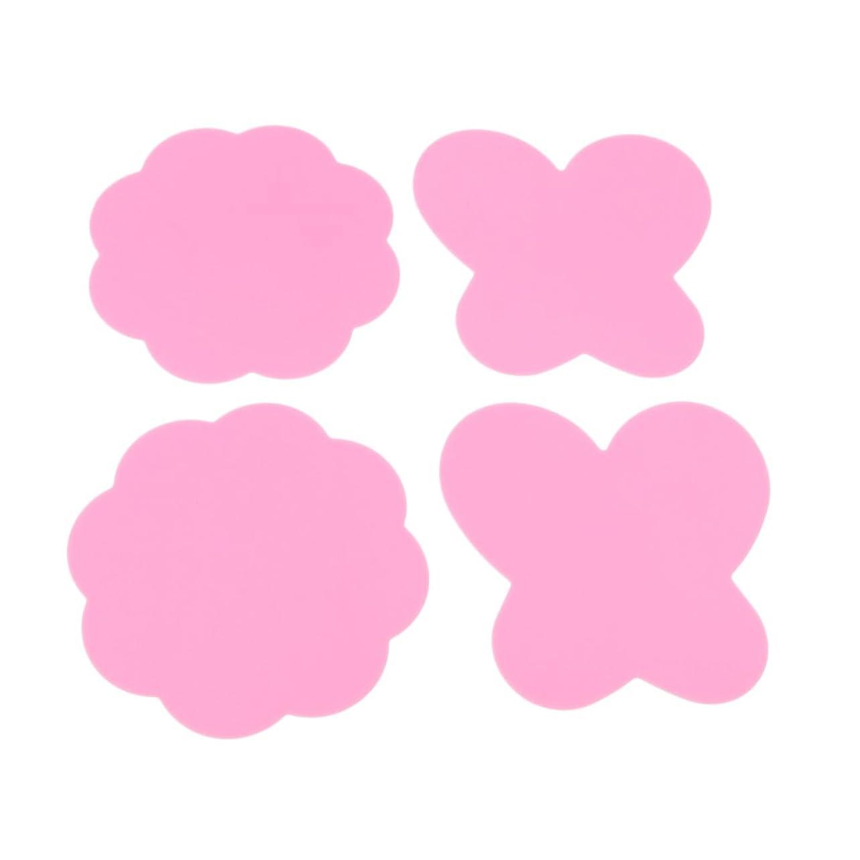 アラート溢れんばかりのレパートリーKesoto 4個 ネイルアートパッド シリコン ミキシングペイント マット 折り畳み式 洗える  全4色 - ピンク