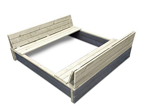 EXIT Aksent Sandkasten XL / mit Deckel = kann zu 2 Bänken umfunktioniert werden / Nordisches Fichtenholz / Maße: 132 x 135 x 20 cm / 27,8 kg