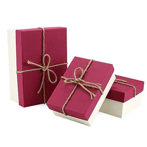 VEESUN Cajas de regalo grandes para regalos, 3 juegos de cajas de...