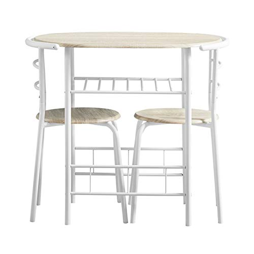 AINPECCA Dining Table Set Small 3pcs Kitchen Set Breakfast Bar Dining Table and Modern Chairs Set Compact Dining Table with Two Chairs MDF with Metal (White)