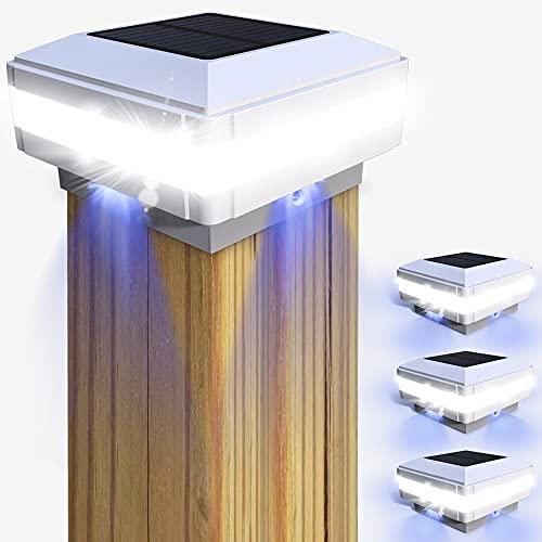 Tapas de poste luz solar GEYUEYA Home Solar Postes valla, lámpara paisaje, exterior IP65 resistente al agua para postes madera, plataforma, patio, valla iluminación (4 unidades)