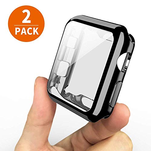 [2-Pack] UBOLE Case for Apple Watch Screen Protector 42mm, One Soft TPU All-Around Black Cover and One Protective Bumper iWatch Case Both for Apple Watch Case Series 3, Series 2 (Black, 42mm)