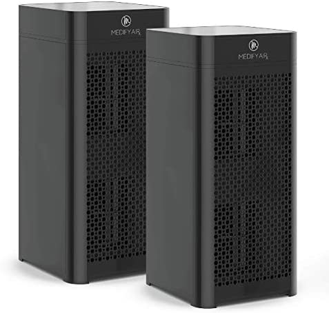 Medify MA-40 Air Purifier with H13 True HEPA Filter | 840 sq ft Coverage | for Smoke, Smokers, Dust, Odors, Pollen, Pet Dander | Quiet 99.9% Removal to 0.1 Microns | Black, 2-Pack