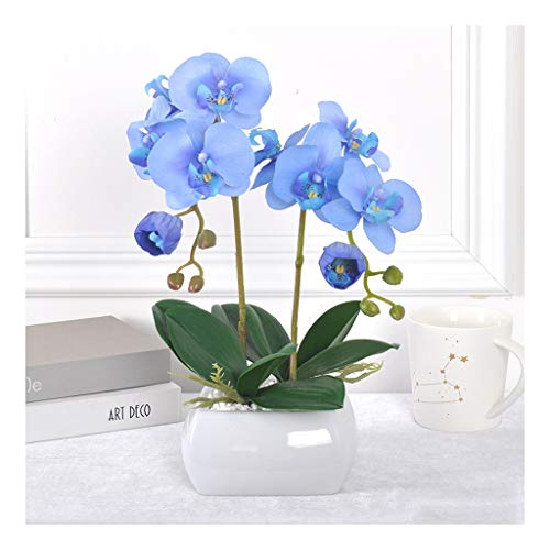 Flores Artificiales Orquídea con Planter Interior Plantas Artificiales Grande en crisoles Face House en Maceta de Bonsai (Blanco, Amarillo, Azul) (Color : Blue)