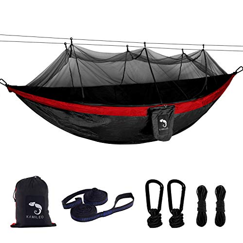 Camping Hammock with Bug Net Lightweight Nylon Portable Hammock Includes Hammock Tree Straps and Carabiners Great for Indoor Outdoor Backpacking Travel Hiking Beach Yard Double Hammock(Black Red)