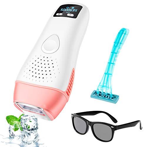 IPL Haarentfernung für Frauen und Männer, Ice Hair Removal Flashes Professionelle Pflege von Haarentfernungsgeräten mit Icing Sense Behandlung Gesichtskörper und...
