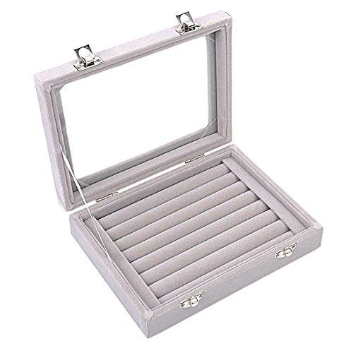 Zice - Caja de almacenamiento de terciopelo para joyas con 7 ranuras, para pendientes y anillos