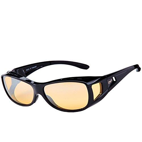 DUCO Polarisierte Nachtfahrtbrille Überbrille für Korrektionsbrille für Brillenträger Polarisierte Nachtsichtbrille (Schwarz-M)