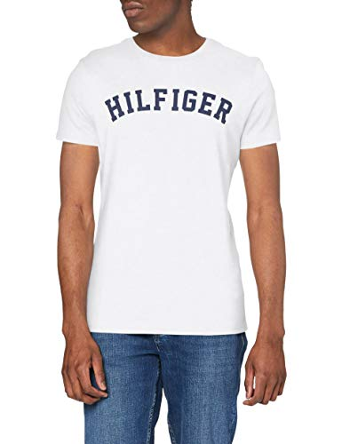 Tommy Hilfiger SS Tee Logo Maglietta, Bianco (White 100), Large Uomo