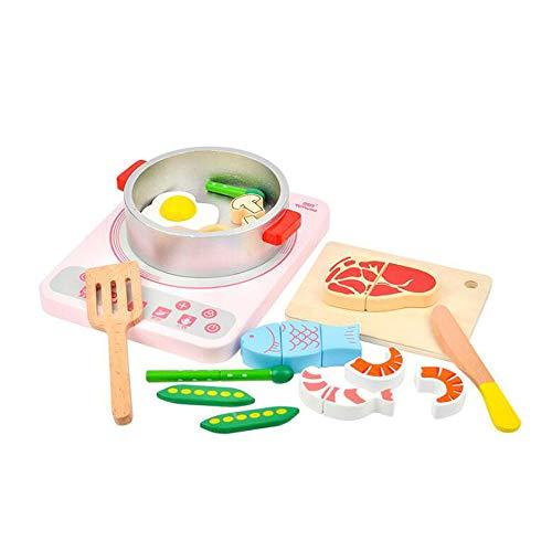 HSCW 19 piezas de madera para niños, juguetes de cocina, juguetes para niños, juguetes de juego de roles, utensilios de cocina, juguetes de comida para niños, verduras, frutas, juguetes, regalo educat