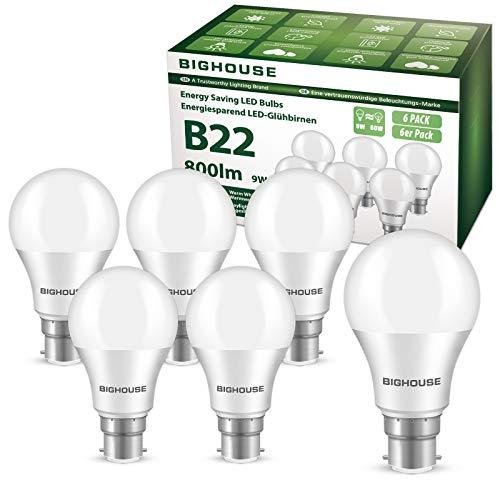B22 LED Lampe, 9W 800 Lumen LED Lampe Ersatz für 60W Halogen, 3000K Warmweiß, A60 Leuchtmittel, 220-240V AC (Kaltesweiß, 6 Stück)