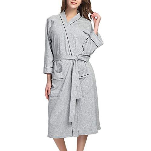 Battnot Damen bademantel mit gã¼rtel baumwolle sommer knielange oversize morgenmantel, frauen saunamantel schlafanzug pyjama nachtwã¤sche nachtzeug ausgangskleidungs damen bathrobe s xxxxxl 3xl blau