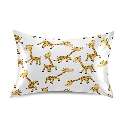 Funda de almohada de satén F17 con diseño de jirafa y animal, suave, transpirable, para sofá, funda de cojín para la piel del cabello, decoración del sueño, 20 x 40 pulgadas