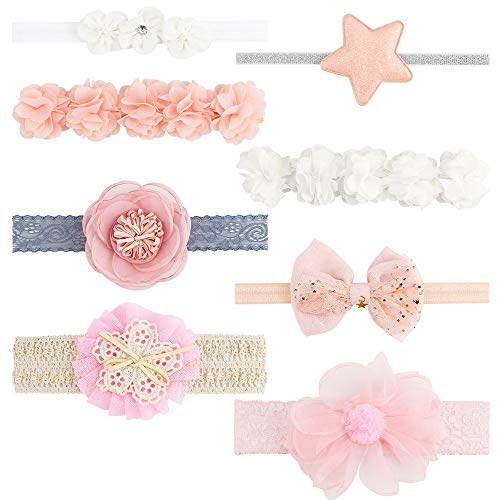 IWILCS Baby Haarband, Super Stretchy Stirnband Baby Mädchen Stirnbänder Neugeborenen Haarband Mehrfarbig Blume Haarschmuck Stirnband Weich Kopfband(8 Stücke)