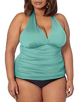 La Blanca Women's Standard Island Goddess Rouched Front Halter Tankini Swimsuit Top, Aloe Green, 34D