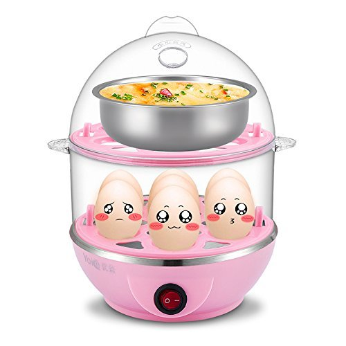 GNEY Double Layer Electric Egg Cooker, Poacher and Milk Boiler, Multicolour