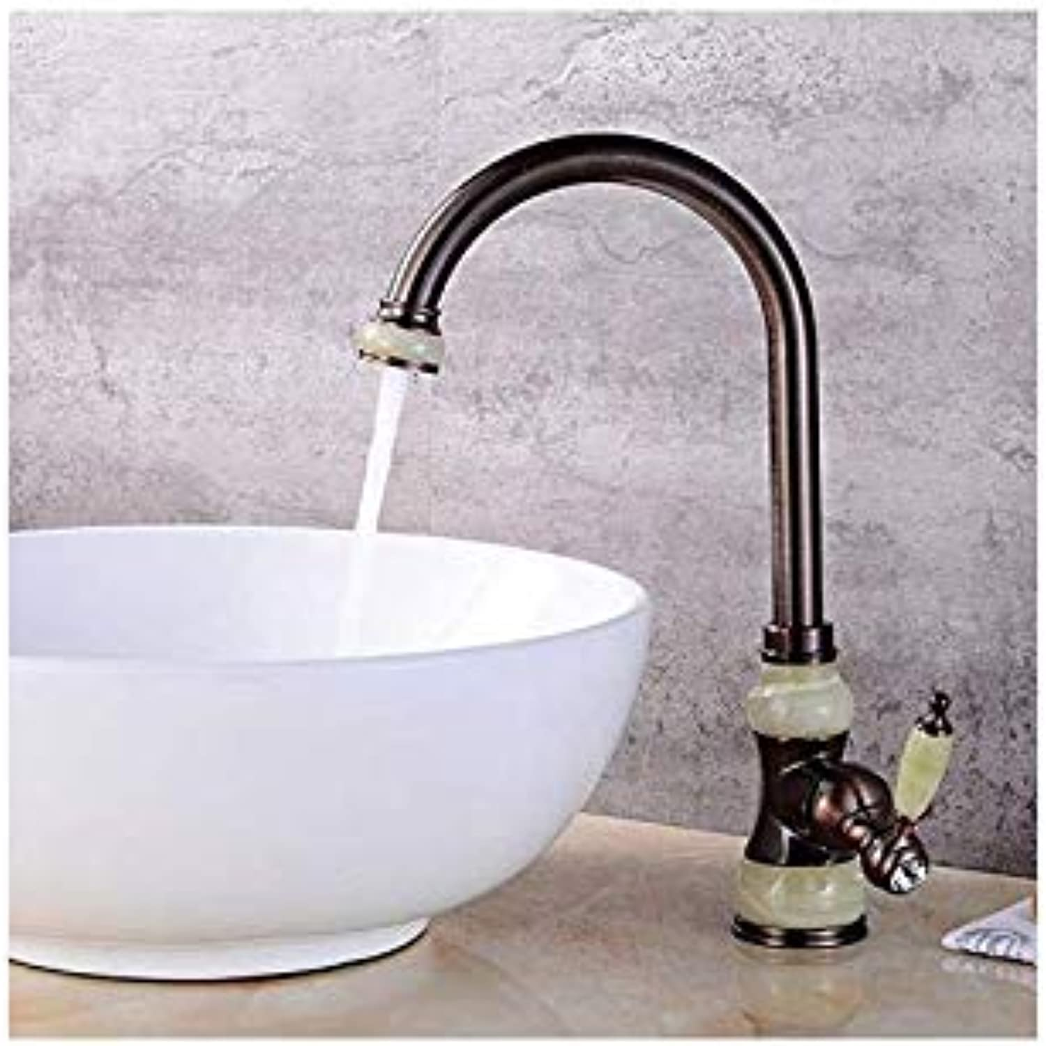 Water Tap Faucet Taps Jade Copper Table Top Basin Hot and Cold Faucet Kitchen Sink Can Be redated gold Antique Faucet, Orb Sapphire