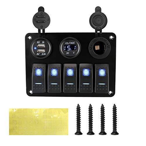 YANGLI WanLiTong con Fusible Impermeable Dual USB Slot Socket 12 / 24V Outlet Combination 5 Gang LED Rocker Switch Panel Voltaje Digital (Color : Blue)