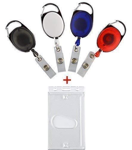 Skipasshalter avec lot de 5 porte-badge solide, format porte-badge avec enrouleur skipassjojo, porte -, mousqueton et pince pour ceinture Bleu transparent