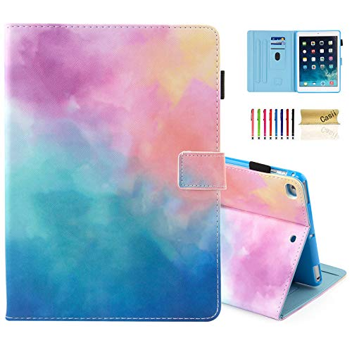 Casii Case for iPad 9.7 2018/2017, Ultra Slim Folio Stand Premium Leather Shockproof Protective Cover with Card Slots & Auto Sleep Wake & Pencil Holder for iPad Air 2/ iPad Air, Colorful Sky