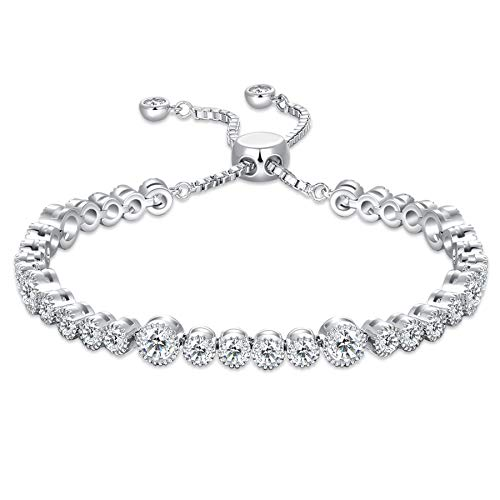 SISMIURRA Platinum Plated Tennis Bracelet For Women Girls Gift With Cubic Zirconia Crystals Fine Jewelry
