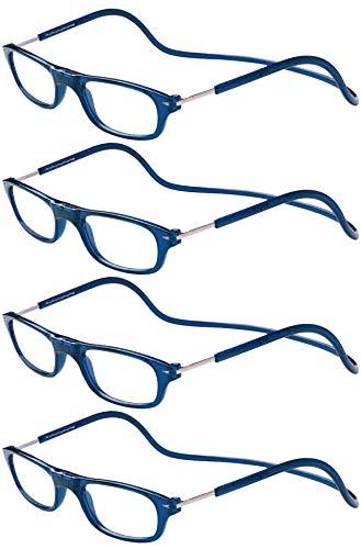 TBOC Pack: Lesebrille Lesehilfe für Herren Damen - [Pack 4 Einheiten] Dioptrien +4.00 Blau Fassung Stärke PC Handy Faltbar Frau Mann Magnetverschluss Clip Alterssichtigkeit Presbyopie