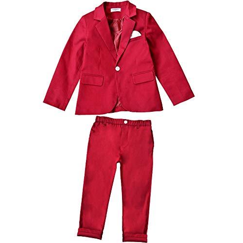 DAZISEN Trajes para Niños - Traje Blazer para Niños Chaqueta Pantalones/Camisa Traje Bautismo Fiesta Boda, Rojo-2 Piezas, US 100=Tag 110