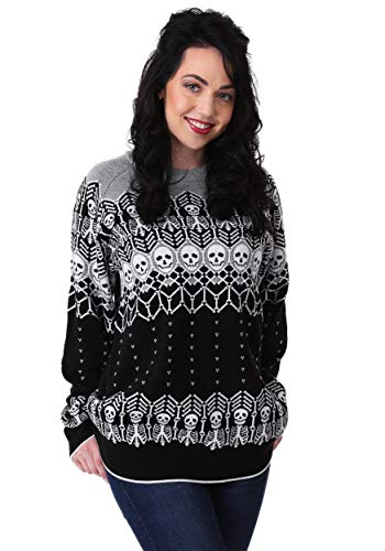 Fun Costumes Adult Unisex Black and White Skeleton Halloween Sweater