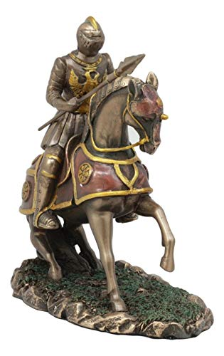 ShopForAllYou Figurines and Statues Medieval Suit of Armor French Knight with Spear Charging On Cavalry Horse Statue