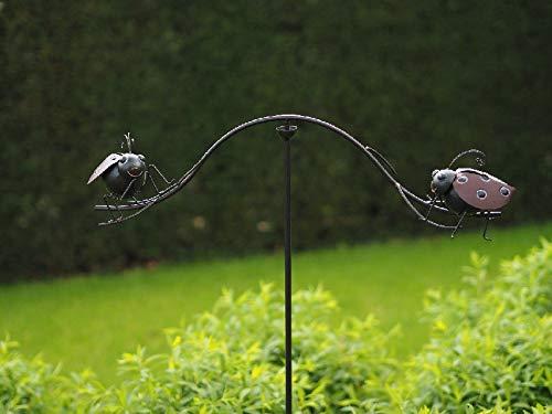 Thermobrass Windspiel XXL Wippe Gartendeko Gartenstecker Figur Außendeko Gartenfigur Käfer aus Metall - Handarbeit - 130 x 70 x 13 cm