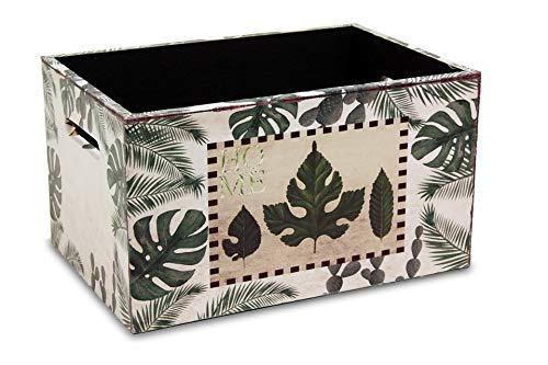 MIMBRE NATURAL Caja Madera Cactus (36x24x20)