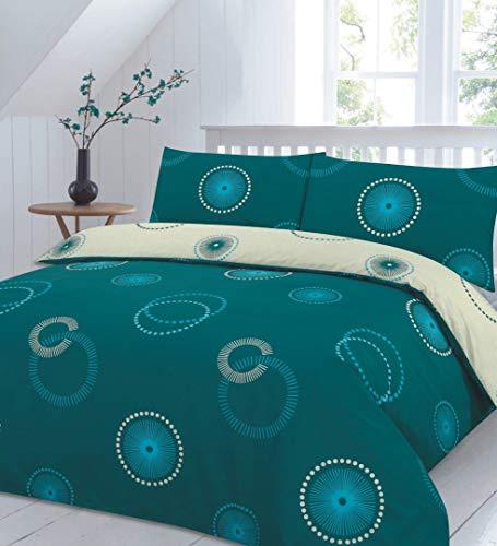 Homefurnishing Eden Reversible Duvet Quilt Cover Bedding Set With Pillow Case (King, Teal)