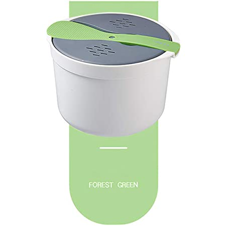 ZONJIE Cuiseur à riz pour micro-ondes - 2 l - Multifonctionnel - Double couche - Comprend les éléments et accessoires nécessaires pour la cuisine - Vert