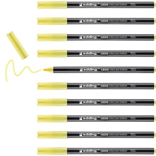 Edding 1300-022 - Caja con 5 rotuladores de punta redonda, trazo 2 mm, color amarillo limón