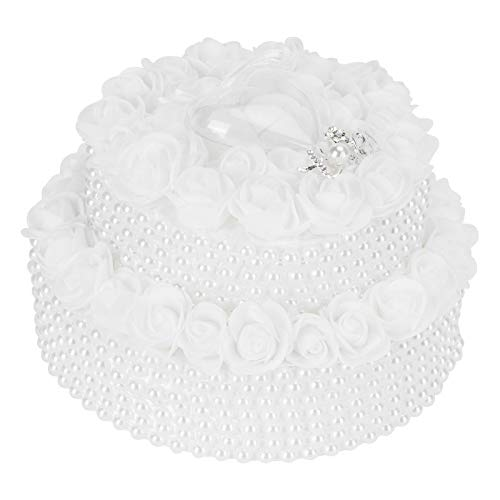 Verano encantador Caja de almohada de anillo, almohada de anillo de boda de diseño elegante conveniente para usar mano de obra fina para bodas en la playa(5904)