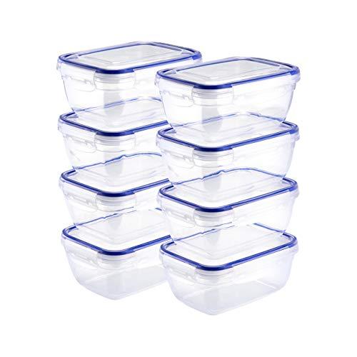 Grizzly 8er Set Frischhaltedosen mit Deckel, je 800 ml, rechteckig, Kunststoff, 100% Luft-/wasserdicht, mikrowellengeeignete Vorratsdosen