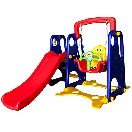 Little Champs Kids Children Playground Swing Chair Slide, Play Toy Center Swing & Slide { BLUE, L160*W160*H115 }