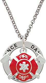 Red Fire Department Shield with Axes - Dance Affirmation Ring Necklace
