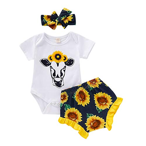 LNGRY Baby Outfits,Toddler Newborn Kid Girls Cartoon Cow Print Romper+Sunflowers Floral Frill Shorts+Headband Set Yellow