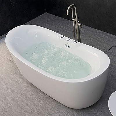 "WOODBRIDGE B-0034/BTS1611 71"" x 31.5"" Whirlpool Water Jetted and Air Bubble Freestanding Bathtub, BTS1611, Tub, 71"" B-0034 Whirlpool & Air"