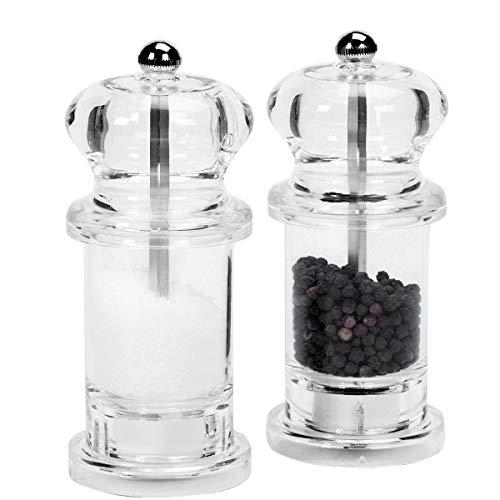 BUTLERS Spice Shuttle Salz- und Pfeffermühlenset - Pfefferstreuer, Salzstreuer aus Acryl - Gewürzspender, transparent
