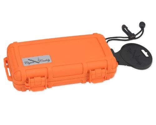 Cigar Caddy 3400-R Blaze 5 Cigar Waterproof Travel Humidor, Blaze Orange Rubberized Exterior