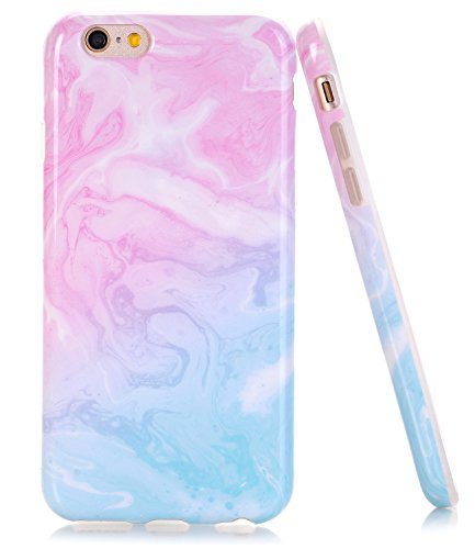 BAISRKE iPhone SE Case,iPhone 5 5 SE Case Marble Case Slim Flexible Soft Silicone Bumper Shockproof Gel TPU Rubber Glossy Skin Cover Case for iPhone 5 5S SE - Pink Blue
